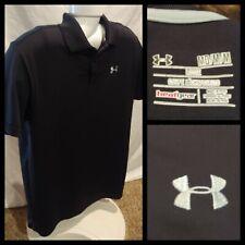 Mens Under Armour Loose Heat Gear Black Polo Shirt Size Medium