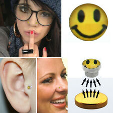 1PC Logo Fake Illusion Piercing Magnetic Steel Labret Nose Ear Body Smiley Face