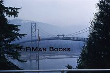 KODACHROME Red Border 35mm Slide Canada Vancouver Lions Gate Bridge Flag 1950s