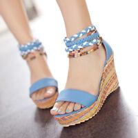 Womens Wedge High Heels Platform Beaded Strap Sandals Beach Peep Toe Shoes Party