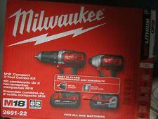 Milwaukee M18 RedLithium Compact 2-Tool Combo Kit 2691-22 BRAND NEW