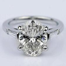 3 Stone 2.90 Carat VS2/H Oval Cut Diamond Engagement Ring 14k White Gold