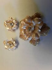 NOLAN MILLER Crystal Flower Gold Plated Pin and Matching Earrings