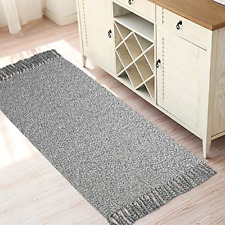 Woven Cotton Rug with Tassels,HiiArug Cotton Throw Mat Carpet Washable Area Rug