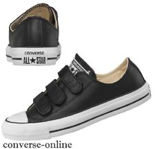 Boys Women's CONVERSE All Star BLACK LEATHER 3V STRAP Trainers Shoes SIZE UK 3.5