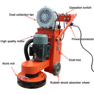 TECHTONGDA Hand-push Cement Ground Grinder 220V with Dust Suction Vacuum Fan