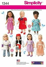 """Simplicity Sewing Pattern 18"""" Doll Clothes American Girl Pirate 1344 B&W Cover"""
