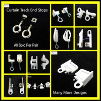 Curtain Track End Stops - Rail ends stoppers hooks eye stays - SOLD PER PAIR