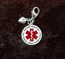 925 Sterling Silver Charm Medical Alert Your Custom Text