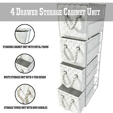 4 Drawer Storage Cabinet Tower Basket Unit White PP Bathroom/Office/Shed/Home