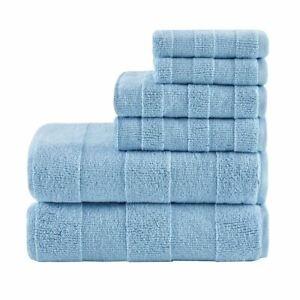 Luxury 6pc Blue Stripe Jacquard Cotton Bath Towel Set  - 600 GSM