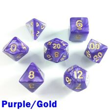 Pearl Poly 7 Dice RPG Set Purple Gold Pathfinder 5e Dungeons Dragons D&D DND HD