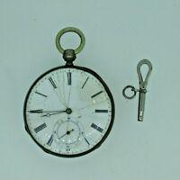 Antique Swiss Coin Silver Key Wound Pocket Watch Parts Steampunk
