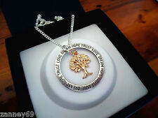Silver & Rose Gold Love Dream Hope Trust Tree Of Life Pendant Necklace 50cm
