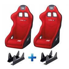 2 x OMP TRS-E Velour Fabric Racing Rally Bucket Seats In Red & Free Mounts!