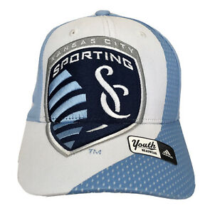 Sporting KC YOUTH Blue & White Shield Logo Fitted Hat by adidas MLS Licensed NWT