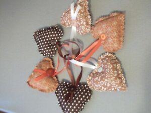 6 mixed autumn colours   hanging hearts handmade