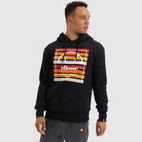 Ellesse Mens Hoodie Hoody Jumper Black Baschi Print Stripe Logo RRP £65 Winter