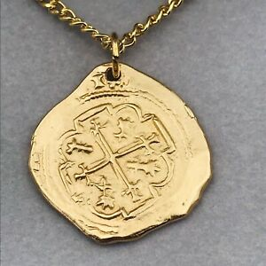Vintage 22k Plated Gold Florida Treasure Coast Spanish Dubloon Pendant Necklace