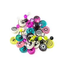 """Lot of 20 Mixed Acrylic Logo Belly Rings 316L Surgical Steel 14ga-3/8""""(10mm)"""