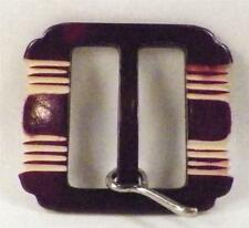 Art Deco Belt Buckle Burgundy Cream Maroon Vintage Retro Metal Post A BEAUTY
