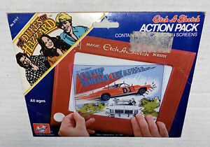 Vintage DUKES OF HAZZARD, ETCH-A-SKETCH Action Pack 1981 General Lee Made USA