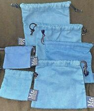 MIGNON FAGET New Orleans BLUE FLANNEL JEWELRY Lot of 6 DRAWSTRING Storage BAGS
