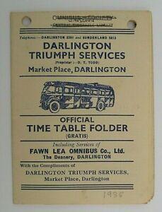 DARLINGTON TRIUMPH SERVICES 1935 ~  BUS SERVICE T/T LEAFLET (INCLUDES FAWN LEA)