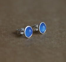 925 Sterling silver stud earrings with natural Blue Onyx gemstones