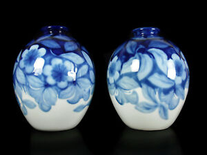 Camille Tharaud Pair Of Vases Flowers And Foliage Limoge Art-Déco c1930 H:28cm