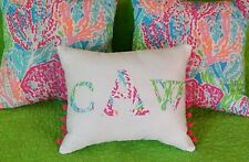 SALE! NEW Monogram pillow made with LILLY PULITZER Let's Cha Cha Fabric