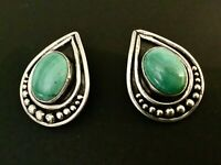 Vintage Mexico Modernist Sterling Silver and Malachite Omega Post Earrings