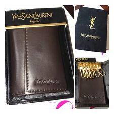 NWT YVES SAINT LAURENT YSL Vintage 6 Hooks Key Case Wallet Brown Leather