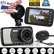 4'' Vehicle 1080P Car DVR Camera Video Recorder Dash Cam G-Sensor GPS Dual Lens