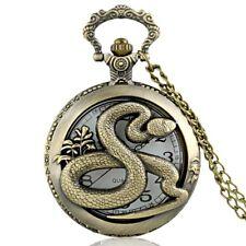 Antique Bronze Vintage Snake Quartz Pocket Watch Chain Pendant Necklace Retro US