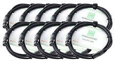 10x Set Profi DJ PA Mikrofon Kabel 2,5m Mic Patch Cable XLR Male Female schwarz