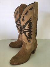 Vintage MISS CAPEZIO Women's 6 M Leather Suede Butterfly Inlay Cowboy Boots