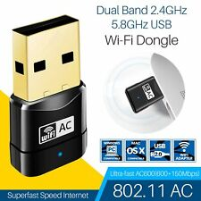 USB Adapter Dongle Wireless WiFi Dual Band 600Mbps 2.4-5ghz For Laptop PC USA