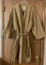 Duluth Trading Co Brown Cotton Canvas MEN'S ROBE Gray Fleece Lined Sz Large