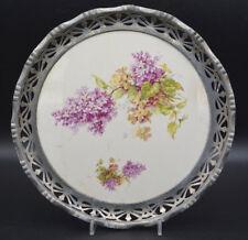 Nürnberg Max Dannhorn Platte Metall Montierung floral 26,5cm Ø um 1895-1921