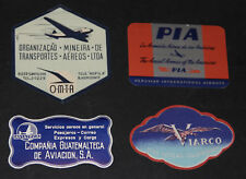 VINTAGE LOT OF VARIOUS SOUTH AMERICAN AIRLINES BAGGAGE LABELS (4)