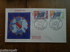 FRANCE 1975, FDC SERVICE,CONSEIL EUROPE VF, DRAPEAU, TP 46 47, STAMP OF SERVICE