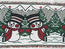 "Christmas Cotton Tapestry Table Runner Snowman Winter Snow  68"" x 13"""