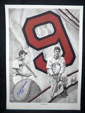 Ted Williams Signed Boston Red Sox Lewis Watkins No. 9 Baseball Lithograph JSA
