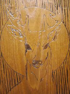 Vintage 70s Solid Oak 8 Point Buck Deer Woodburning Folk Art Wall Hanging 8 x 12