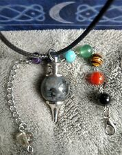 Larvikite 7 chakra crystal healing pendulum dowsing and necklace combination