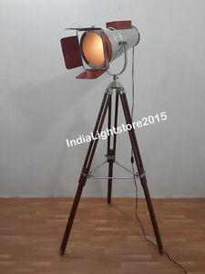 NAUTICAL MARINE SEARCHLIGHT LEATHER SPOT LIGHT STUDIO FLOOR LAMP W/ TRIPOD STAND