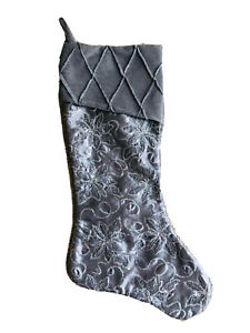19.5 In Gray Silver Floral Sequined Velvet Christmas Stocking