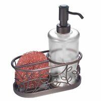 mDesign Decorative Kitchen Sink Countertop Liquid Hand Soap Caddy - Clear/Bronze