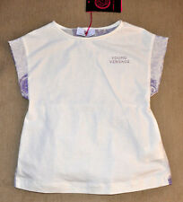 New Authentic Young Versace Girl's White Silk Short Sleeve Shirt (Size 6)
